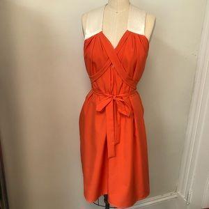 Orange and white silk tie dress one size